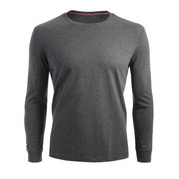Stretch Long Sleeve T-shirt - DARK HEATHER GRAY M