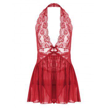 Halter Lace Backless Sheer Babydoll - RED M