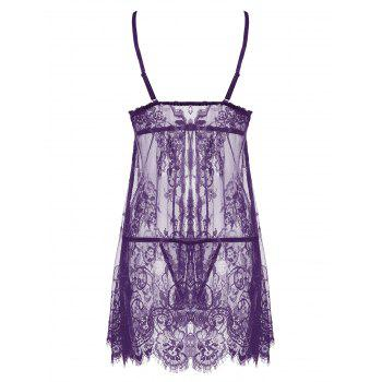 Lace Sheer Split Slip Babydoll - Pourpre XL