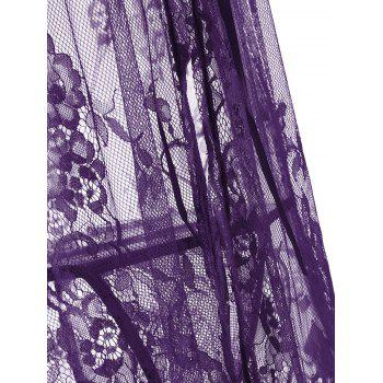 Lace Sheer Split Slip Babydoll - Pourpre L