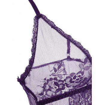 Lace Sheer Split Slip Babydoll - Pourpre M
