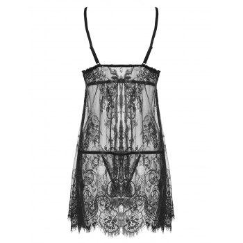 Lace Sheer Split Slip Babydoll - M M