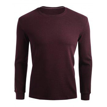 Plain Cuffed Long Sleeve T-shirt - CLARET 2XL