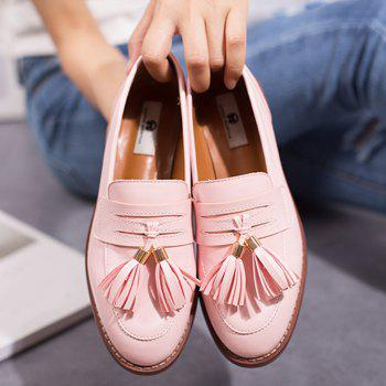 Faux Leather Tassels Flat Shoes - PINK 38