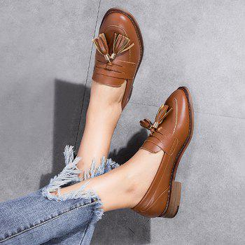 Faux Leather Tassels Flat Shoes - BROWN 37
