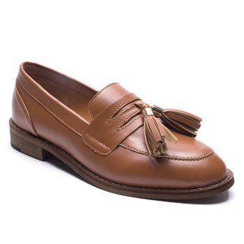 Faux Leather Tassels Flat Shoes - BROWN 38