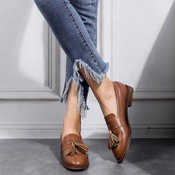 Faux Leather Tassels Flat Shoes - BROWN BROWN