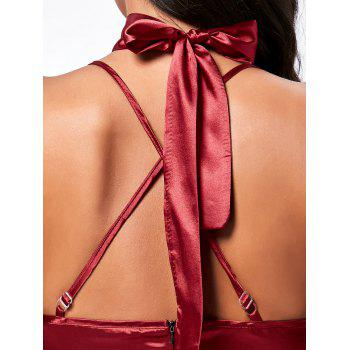 Cross Back Satin Slip Dress - WINE RED L