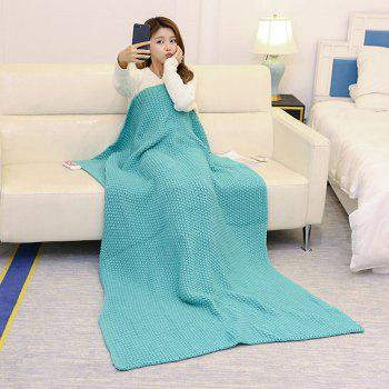 Handmade Crochet Bedding Sofa Throw Blanket - TURQUOISE GREEN 80*96CM