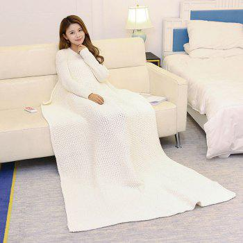 Handmade Crochet Bedding Sofa Throw Blanket - WHITE WHITE