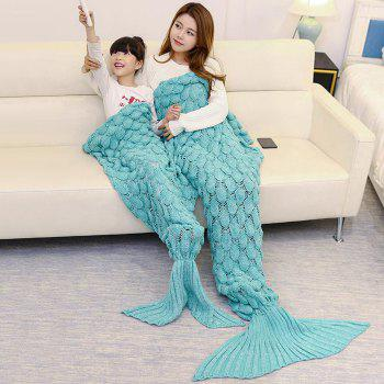 Fish Scale Pattern Parent-child Knitted Mermaid Blanket - GREEN GREEN