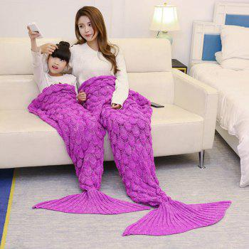 Fish Scale Pattern Parent-child Knitted Mermaid Blanket - ROSE MADDER 180*145CM