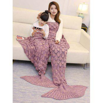 Fish Scale Pattern Parent-child Knitted Mermaid Blanket - PINK 180*145CM