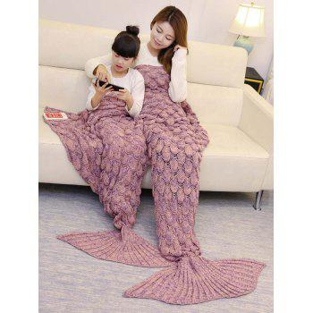 Fish Scale Pattern Parent-child Knitted Mermaid Blanket - 180*145CM 180*145CM