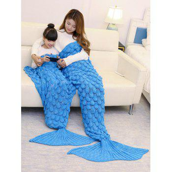 Fish Scale Pattern Parent-child Knitted Mermaid Blanket - BLUE 180*145CM