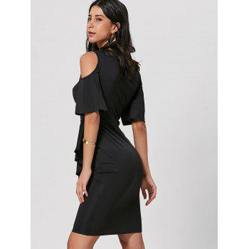 Cold Shoulder Bodycon Peplum Dress - BLACK S