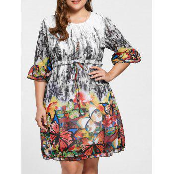 Butterfly Print Drawstring Knee Length Plus Size Dress - COLORMIX 3XL