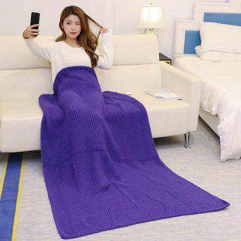 Handmade Crochet Bedding Sofa Throw Blanket - PURPLE 80*96CM