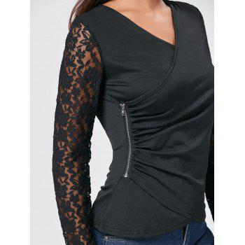 Asymmetrical Lace Insert Zipper Draped T-shirt - BLACK BLACK
