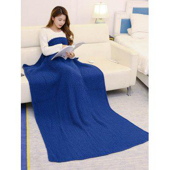 Handmade Crochet Bedding Sofa Throw Blanket - CADETBLUE 110*160CM