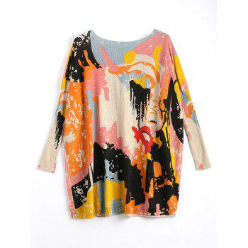 Plus Size Funny Graphic Long Sweater - APRICOT APRICOT