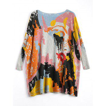 Plus Size Funny Graphic Long Sweater - ONE SIZE ONE SIZE