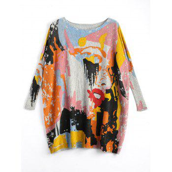 Plus Size Funny Graphic Long Sweater - LIGHT GRAY ONE SIZE