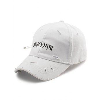 Broken Hole Safety Pin Circle Letters Baseball Cap - WHITE WHITE
