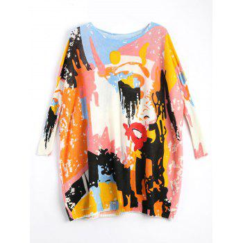 Plus Size Funny Graphic Long Sweater - OFF-WHITE ONE SIZE