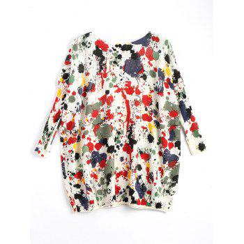 Plus Size Splash Painting Knit Tunic Sweater - RED RED