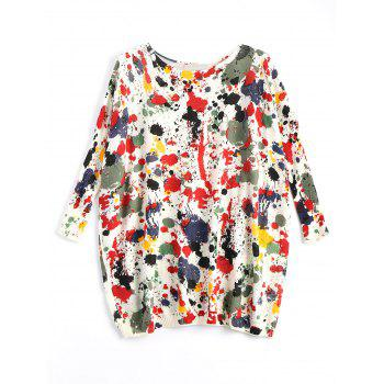 Plus Size Splash Painting Knit Tunic Sweater - RED ONE SIZE