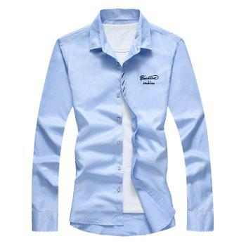 Button Down Long Sleeve Embroidery Shirt - BLUE L