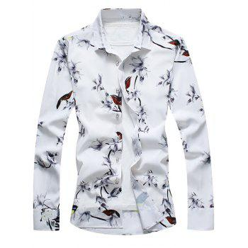 Retro Flower and Bird Print Shirt - WHITE 5XL