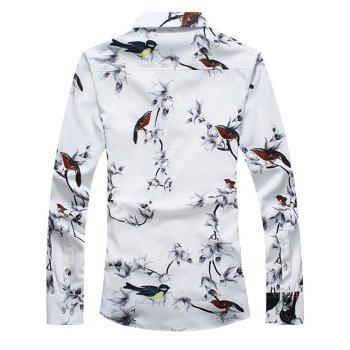 Retro Flower and Bird Print Shirt - 5XL 5XL