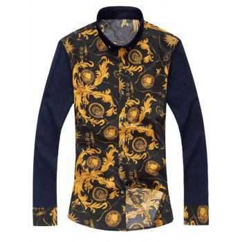 Button Down Vintage Floral Printed Shirt - COLORMIX L