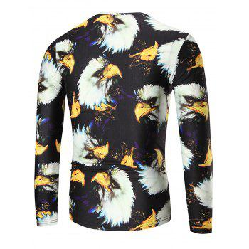 Eagle Print Slim Long Sleeve T-shirt - COLORMIX 3XL