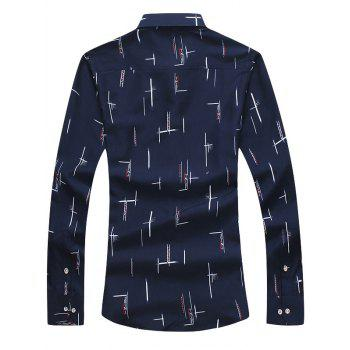 Turndown Collar Long Sleeves Print Shirt - 2XL 2XL