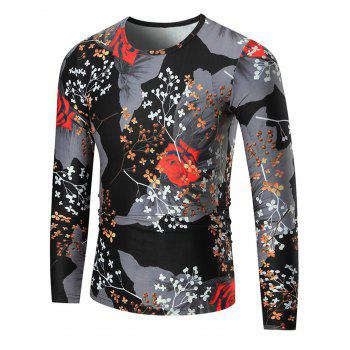 Rose Print Color Block Long Sleeve T-shirt - COLORMIX COLORMIX