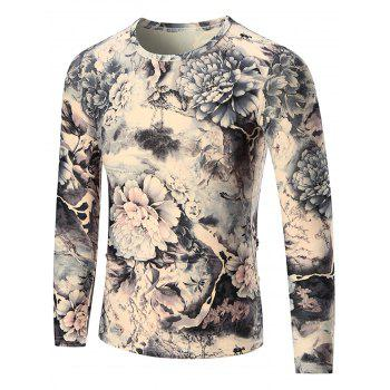 Peony Print Crewneck Long Sleeve T-shirt - COLORMIX XL