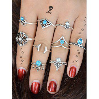 Artificial Crystal Mermaid Tail Teardrop Ring Set -  SILVER