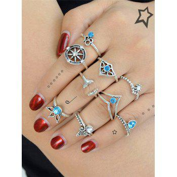 Artificial Crystal Mermaid Tail Teardrop Ring Set - SILVER SILVER