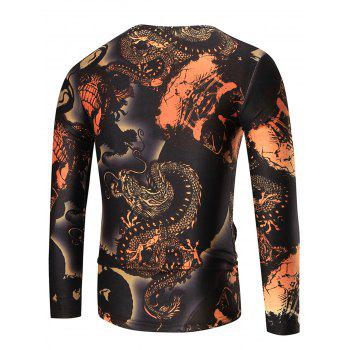 Crewneck Skulls Print Long Sleeve T-shirt - 3XL 3XL