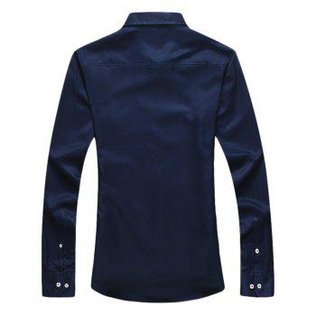 Button Down Long Sleeve Embroidery Shirt - L L
