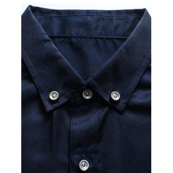Button Down Long Sleeve Embroidery Shirt - PURPLISH BLUE L