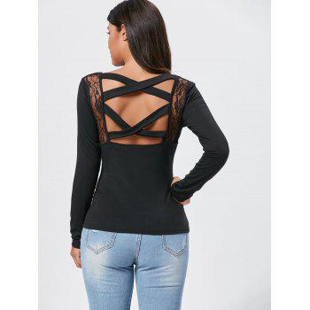 Lace Insert Cross Back Long Sleeve Tee - M M