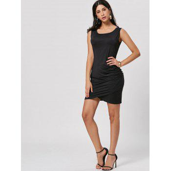 Mini Ruched Bodycon Dress - BLACK L