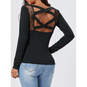 Lace Insert Cross Back Long Sleeve Tee - BLACK S