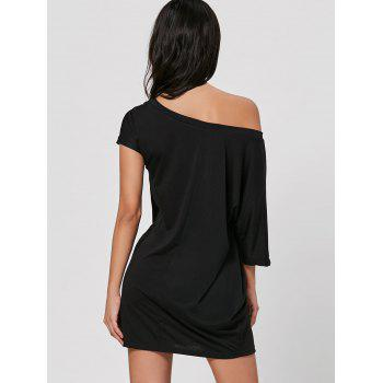 Skew Neck Mini T-shirt Dress - BLACK BLACK
