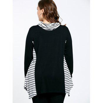 Stripe Panel Plus Size Turtleneck Asymmetric T-shirt - 2XL 2XL