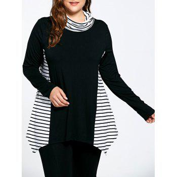 Stripe Panel Plus Size Turtleneck Asymmetric T-shirt